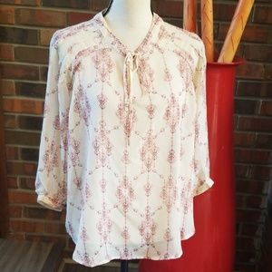 Truth NYC Semi Sheer Key Hole Front Flowy Blouse